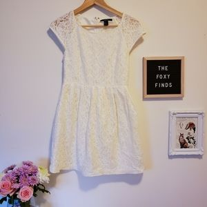 Forever 21 White Lace A-Line Mini Dress Size Small